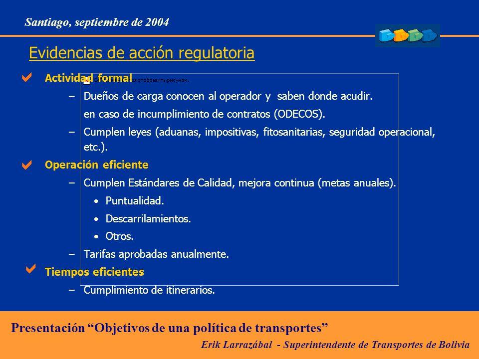 Erik Larrazábal - Superintendente de Transportes de Bolivia Presentación Objetivos de una política de transportes Santiago, septiembre de 2004 Evidencias de acción regulatoria Actividad formal –Dueños de carga conocen al operador y saben donde acudir.
