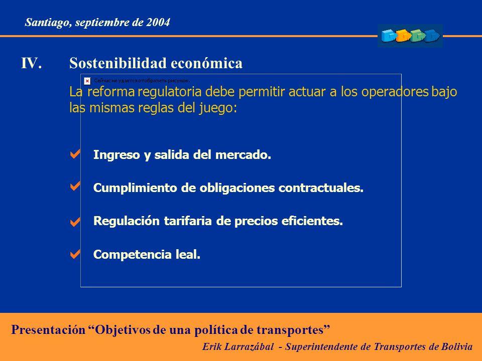 Erik Larrazábal - Superintendente de Transportes de Bolivia Presentación Objetivos de una política de transportes Santiago, septiembre de 2004 La reforma regulatoria debe permitir actuar a los operadores bajo las mismas reglas del juego: Ingreso y salida del mercado.