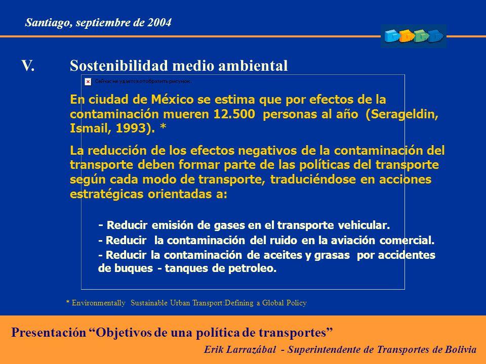 Erik Larrazábal - Superintendente de Transportes de Bolivia Presentación Objetivos de una política de transportes Santiago, septiembre de 2004 En ciudad de México se estima que por efectos de la contaminación mueren 12.500 personas al año (Serageldin, Ismail, 1993).