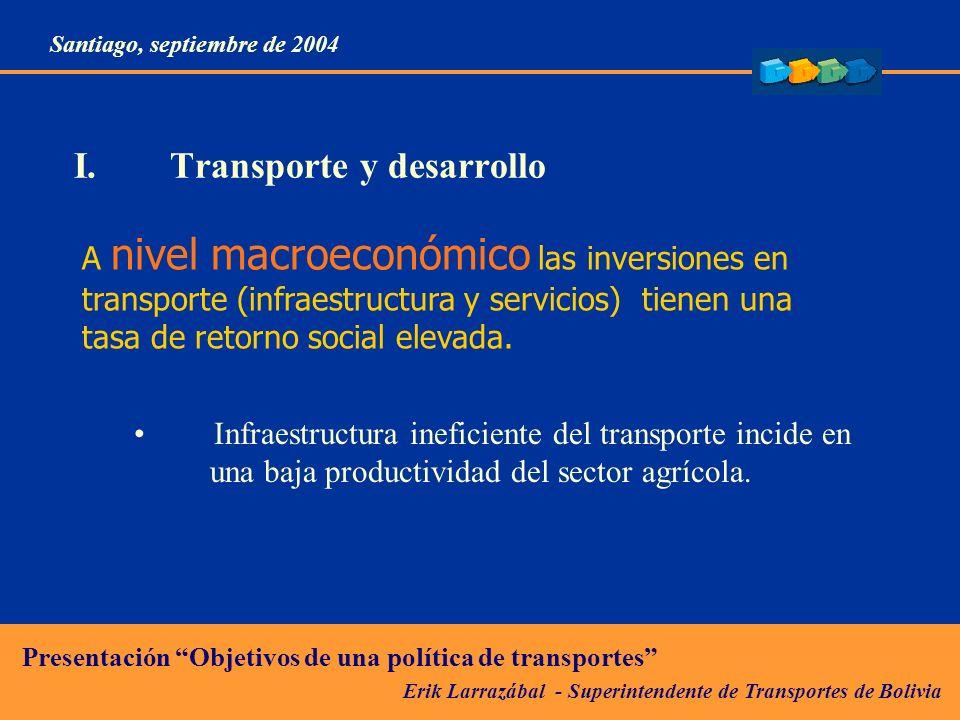 Erik Larrazábal - Superintendente de Transportes de Bolivia Presentación Objetivos de una política de transportes Santiago, septiembre de 2004 I.Transporte y desarrollo A nivel microeconómico las mejoras en el transporte: Reducen costos de producción.