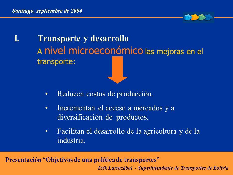 Erik Larrazábal - Superintendente de Transportes de Bolivia Presentación Objetivos de una política de transportes Santiago, septiembre de 2004 II.Desafíos del transporte en la competitividad económica: Reducción de costos logísticos Resultados esperados del establecimiento de normas adecuadas Formalización de actividad.