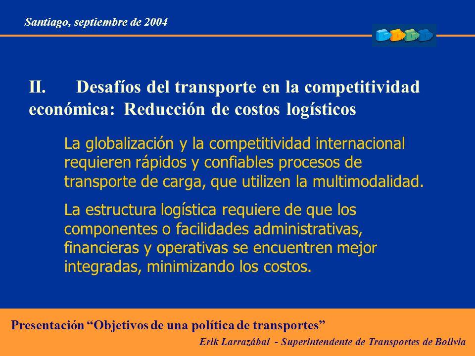 Erik Larrazábal - Superintendente de Transportes de Bolivia Presentación Objetivos de una política de transportes Santiago, septiembre de 2004 E mail: elarrazabal@suptrans.gov.bo Muchas gracias por su atención Página web:www.suptrans.gov.bo