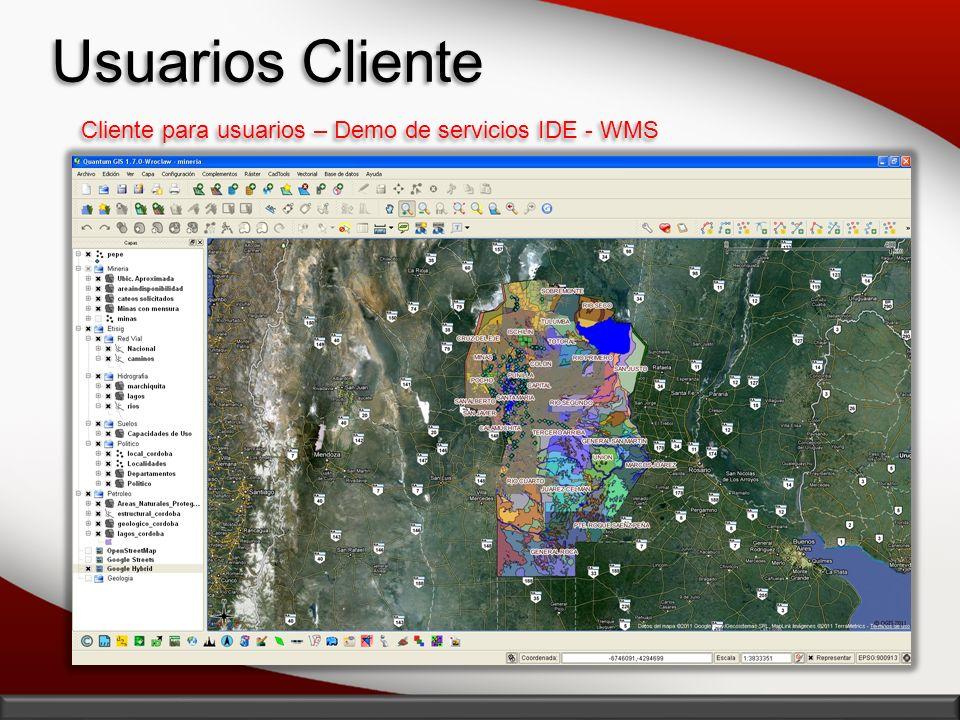 Usuarios Cliente Cliente para usuarios – Demo de servicios IDE - WMS