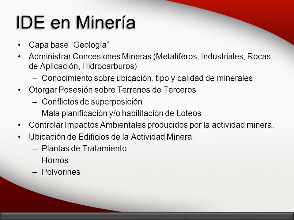 IDE en Minería Capa base Geología Administrar Concesiones Mineras (Metalíferos, Industriales, Rocas de Aplicación, Hidrocarburos) –Conocimiento sobre