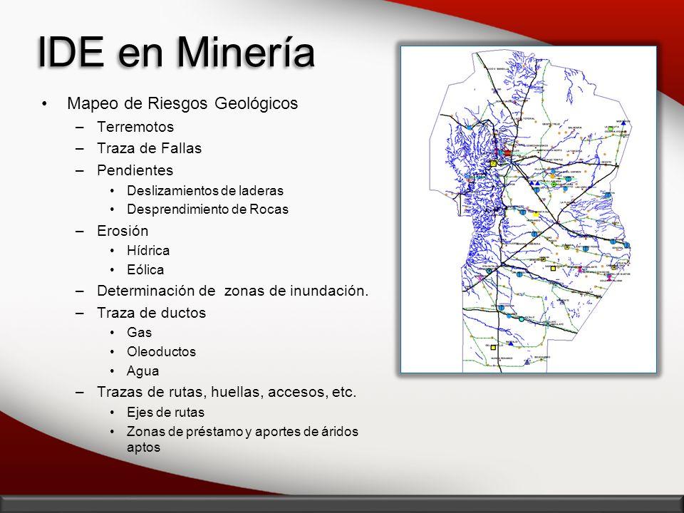 IDE en Minería Mapeo de Riesgos Geológicos –Terremotos –Traza de Fallas –Pendientes Deslizamientos de laderas Desprendimiento de Rocas –Erosión Hídric