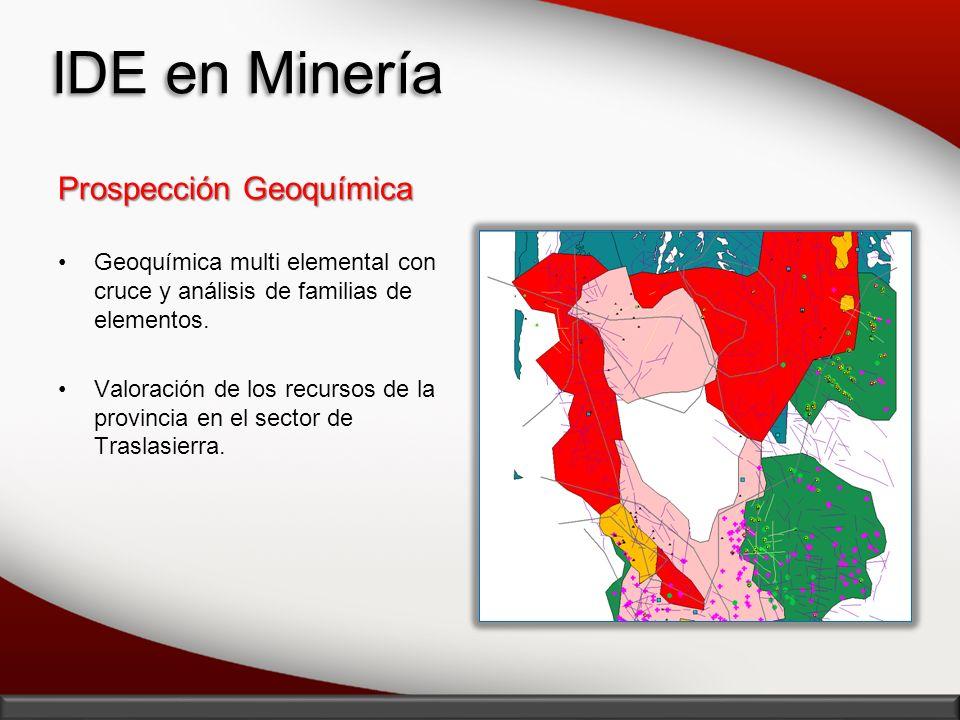 IDE en Minería Prospección Geoquímica Geoquímica multi elemental con cruce y análisis de familias de elementos. Valoración de los recursos de la provi
