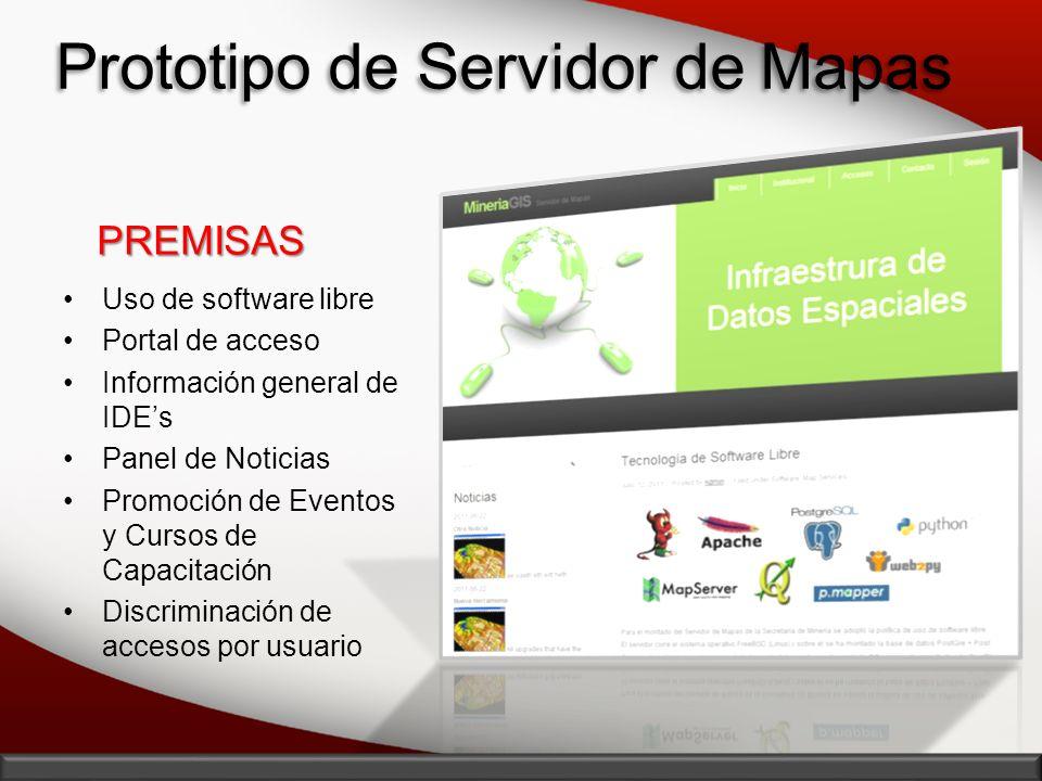 Prototipo de Servidor de Mapas Uso de software libre Portal de acceso Información general de IDEs Panel de Noticias Promoción de Eventos y Cursos de C