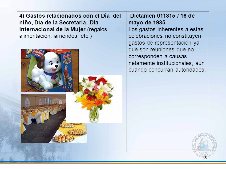 13 4) Gastos relacionados con el Día del niño, Día de la Secretaria, Día Internacional de la Mujer (regalos, alimentación, arriendos, etc.) Dictamen 0