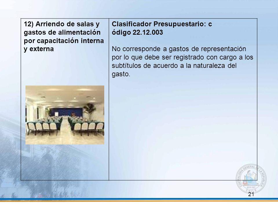 21 12) Arriendo de salas y gastos de alimentación por capacitación interna y externa Clasificador Presupuestario: c ódigo 22.12.003 No corresponde a g