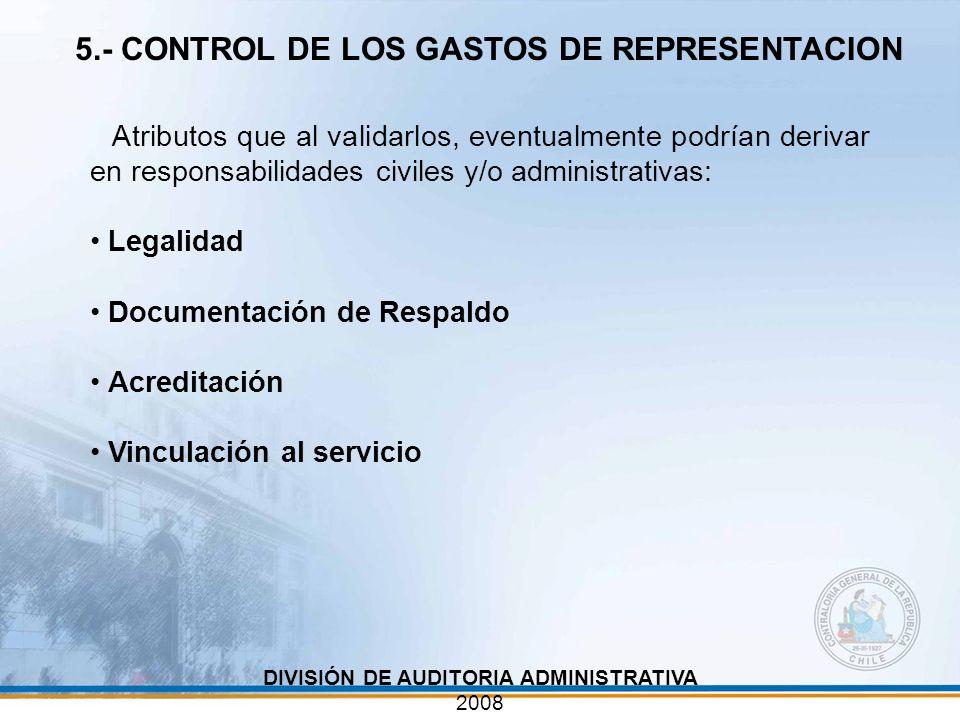 Atributos que al validarlos, eventualmente podrían derivar en responsabilidades civiles y/o administrativas: Legalidad Documentación de Respaldo Acred