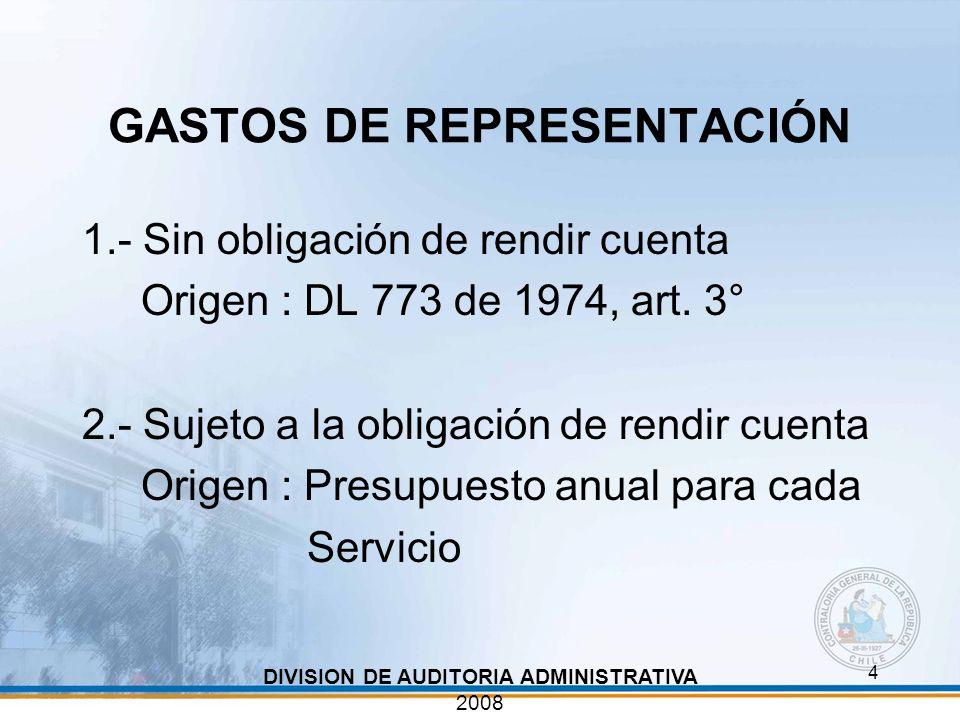 4 GASTOS DE REPRESENTACIÓN 1.- Sin obligación de rendir cuenta Origen : DL 773 de 1974, art. 3° 2.- Sujeto a la obligación de rendir cuenta Origen : P