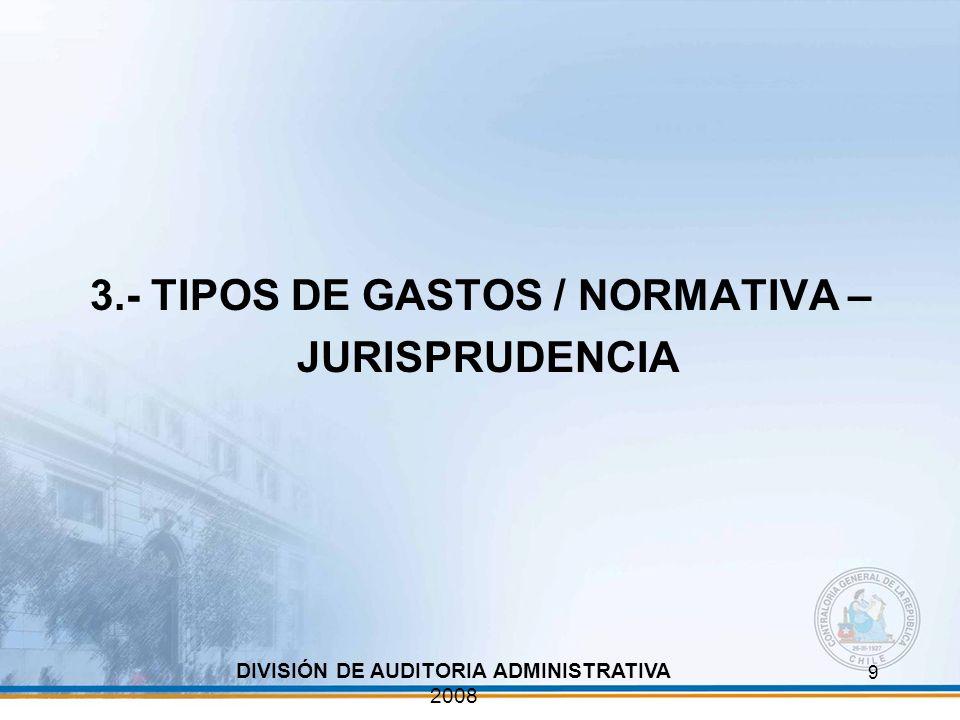 9 3.- TIPOS DE GASTOS / NORMATIVA – JURISPRUDENCIA DIVISIÓN DE AUDITORIA ADMINISTRATIVA 2008