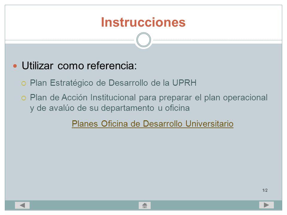 Instrucciones Utilizar como referencia: Plan Estratégico de Desarrollo de la UPRH Plan de Acción Institucional para preparar el plan operacional y de