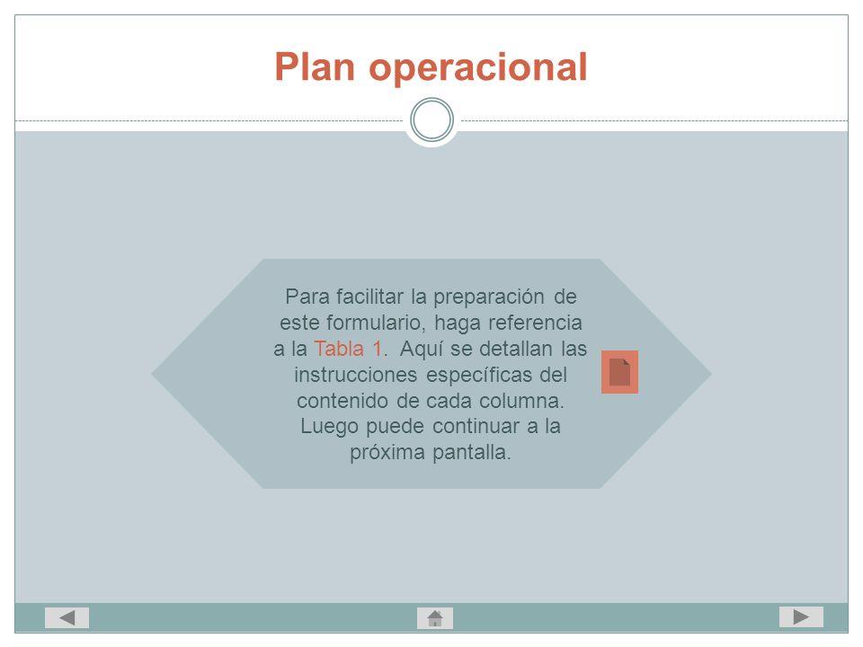Plan operacional Para facilitar la preparación de este formulario, haga referencia a la Tabla 1. Aquí se detallan las instrucciones específicas del co