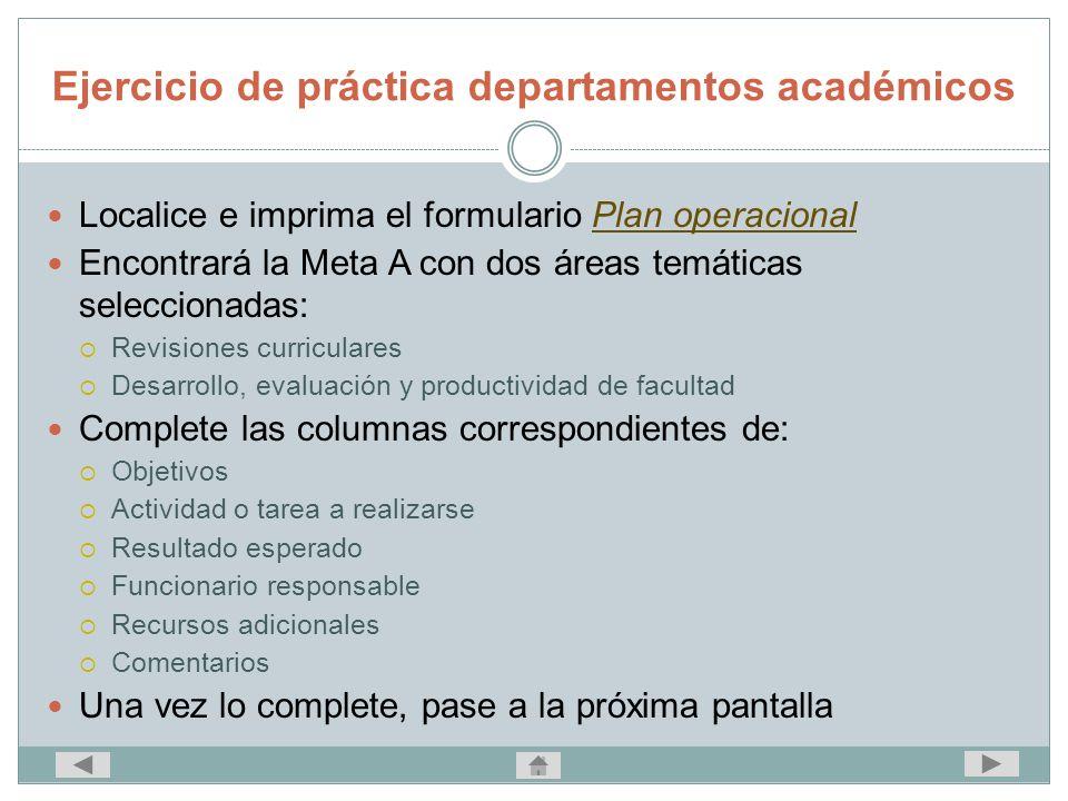 Ejercicio de práctica departamentos académicos Localice e imprima el formulario Plan operacionalPlan operacional Encontrará la Meta A con dos áreas te