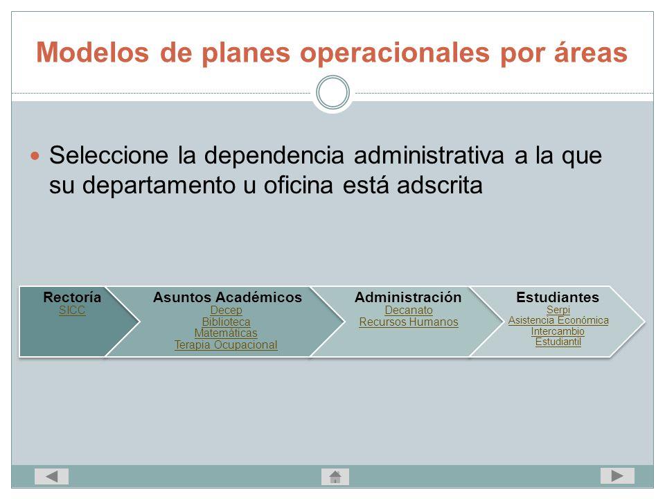 Modelos de planes operacionales por áreas Seleccione la dependencia administrativa a la que su departamento u oficina está adscrita Rectoría SICC Asun