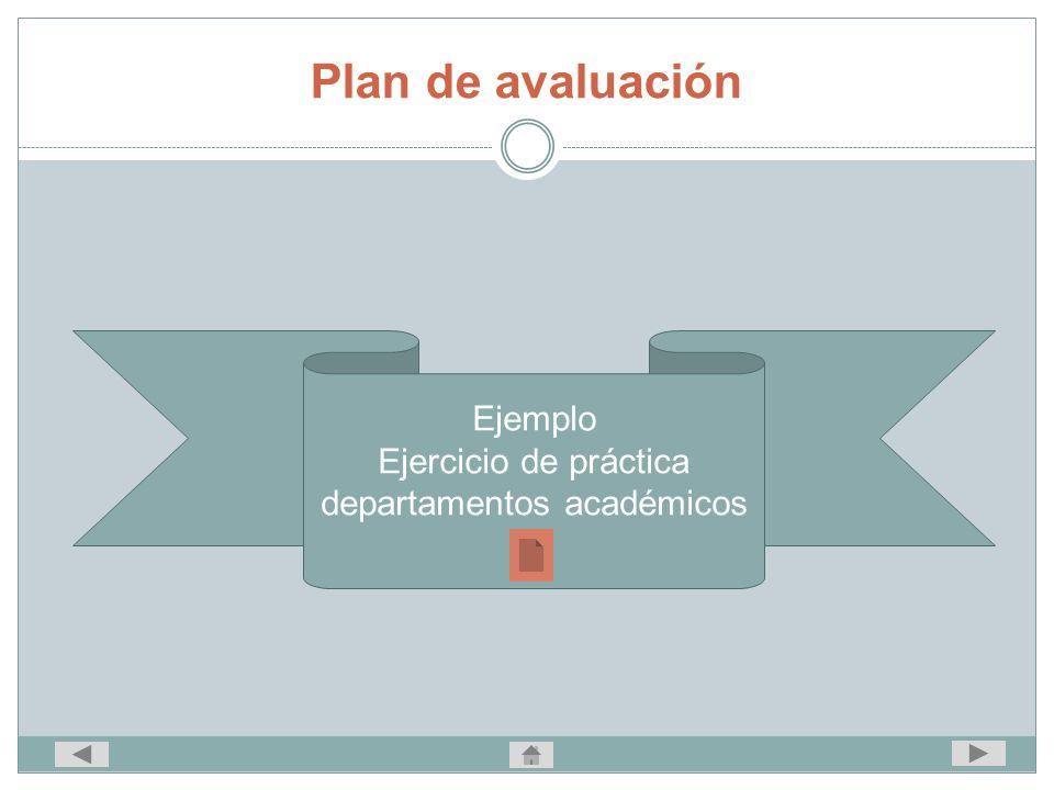 Ejemplo Ejercicio de práctica departamentos académicos Plan de avaluación