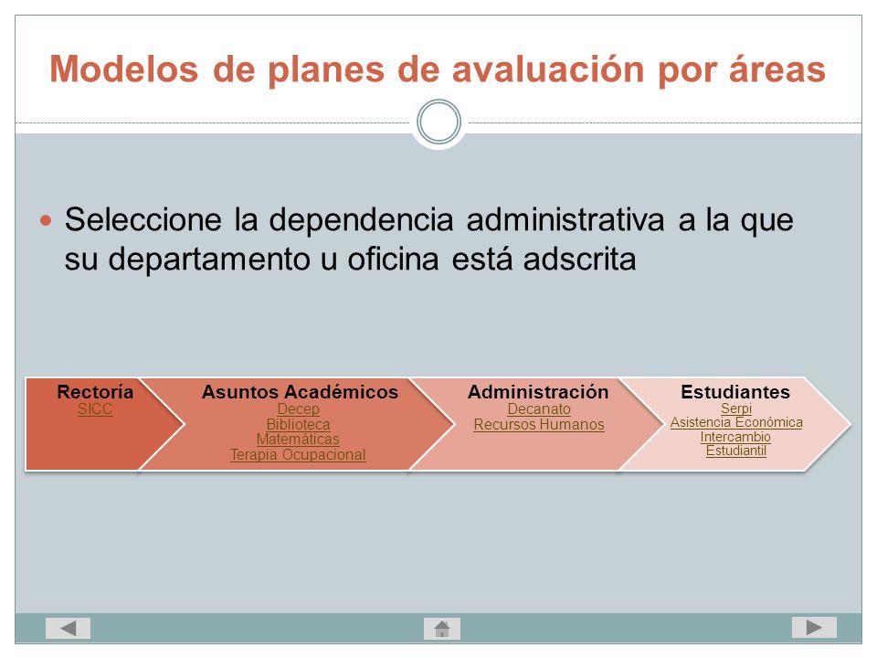 Modelos de planes de avaluación por áreas Seleccione la dependencia administrativa a la que su departamento u oficina está adscrita Rectoría SICC Asun
