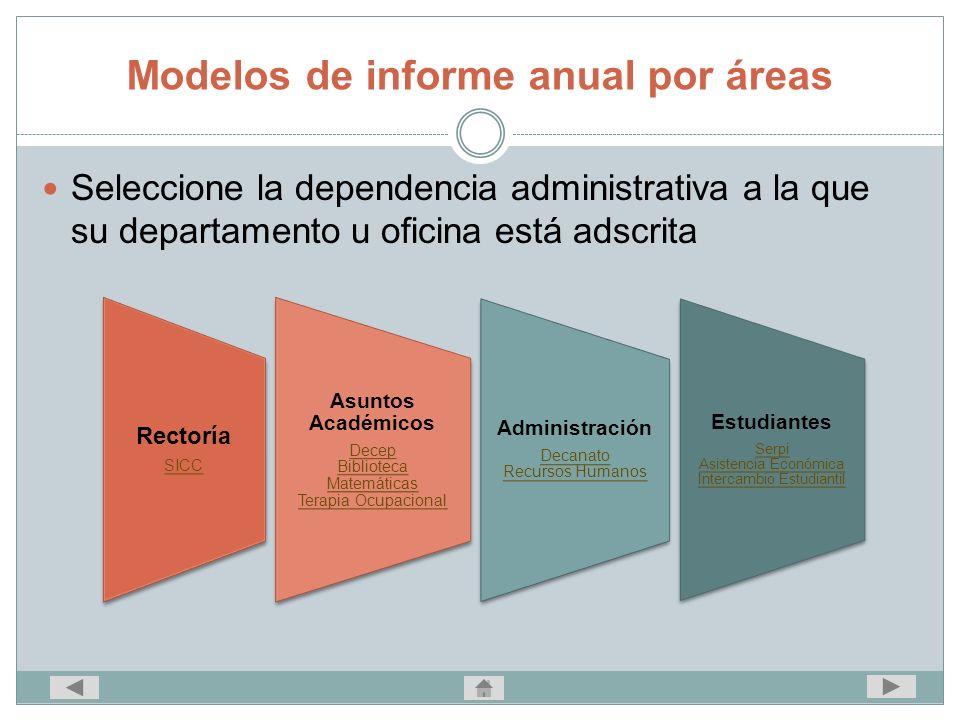 Modelos de informe anual por áreas Seleccione la dependencia administrativa a la que su departamento u oficina está adscrita Rectoría SICC Asuntos Aca