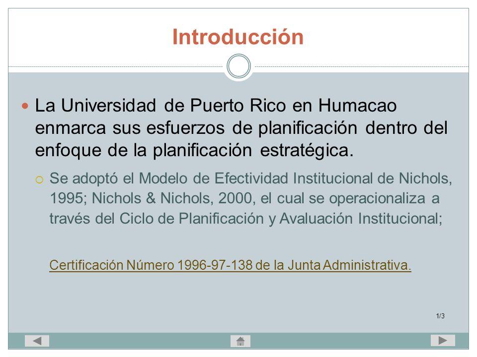 Introducción La Universidad de Puerto Rico en Humacao enmarca sus esfuerzos de planificación dentro del enfoque de la planificación estratégica. Se ad