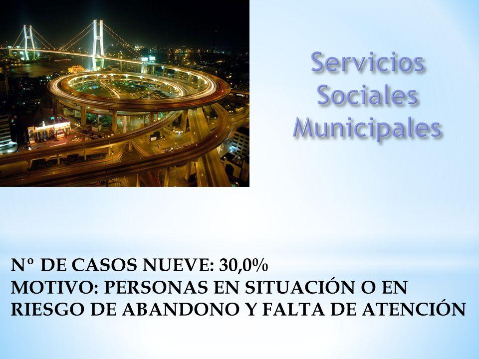 Nº DE CASOS NUEVE: 30,0% MOTIVO: PERSONAS EN SITUACIÓN O EN RIESGO DE ABANDONO Y FALTA DE ATENCIÓN