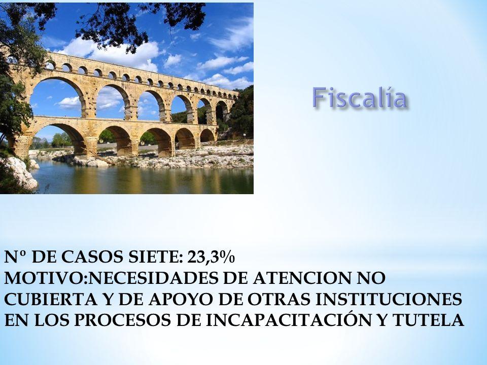 Nº DE CASOS SIETE: 23,3% MOTIVO:NECESIDADES DE ATENCION NO CUBIERTA Y DE APOYO DE OTRAS INSTITUCIONES EN LOS PROCESOS DE INCAPACITACIÓN Y TUTELA
