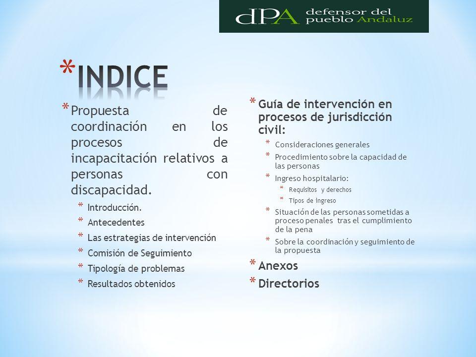 * Propuesta de coordinación en los procesos de incapacitación relativos a personas con discapacidad. * Introducción. * Antecedentes * Las estrategias