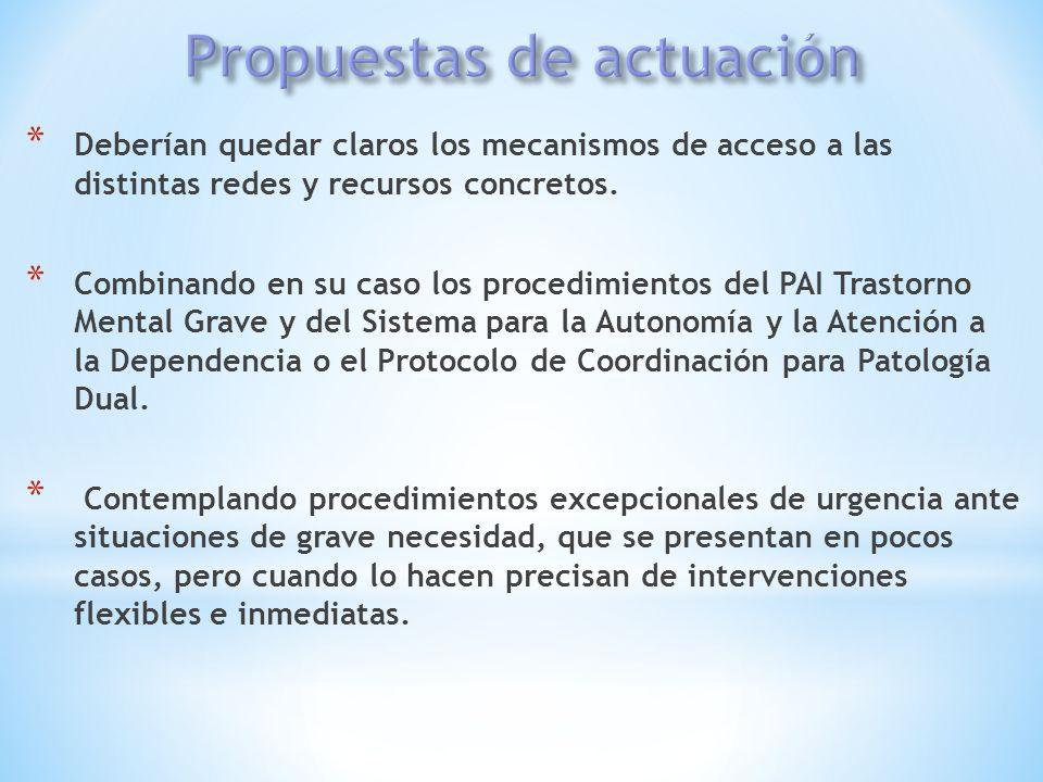 * Deberían quedar claros los mecanismos de acceso a las distintas redes y recursos concretos. * Combinando en su caso los procedimientos del PAI Trast
