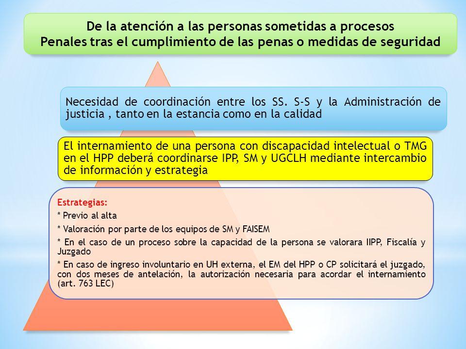 Necesidad de coordinación entre los SS. S-S y la Administración de justicia, tanto en la estancia como en la calidad El internamiento de una persona c