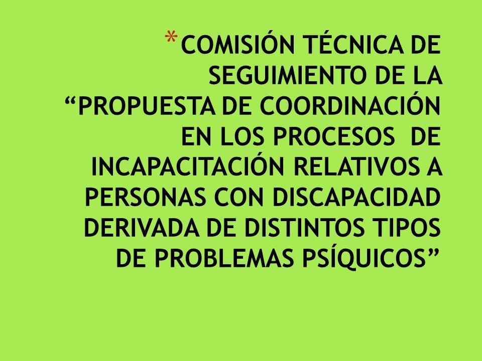 * COMISIÓN TÉCNICA DE SEGUIMIENTO DE LA PROPUESTA DE COORDINACIÓN EN LOS PROCESOS DE INCAPACITACIÓN RELATIVOS A PERSONAS CON DISCAPACIDAD DERIVADA DE