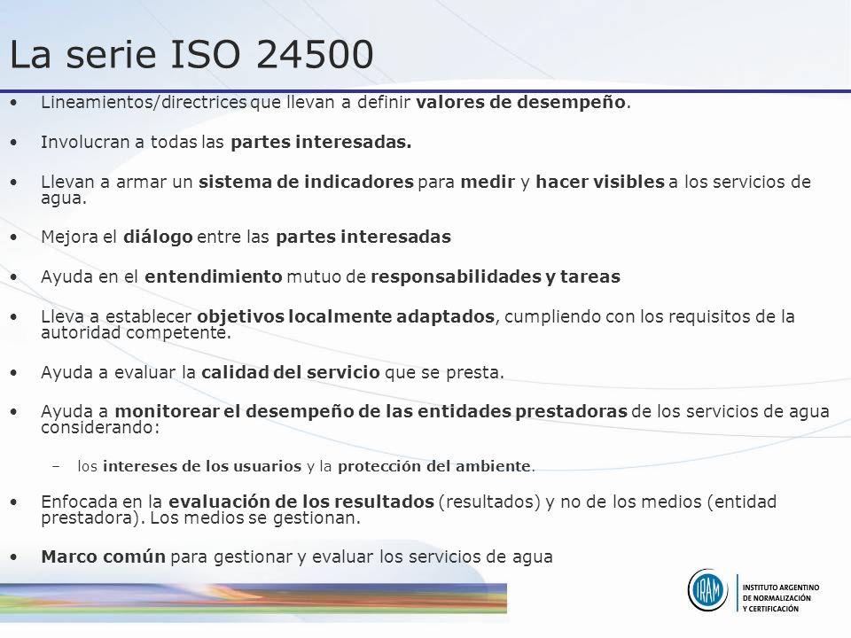 La serie ISO 24500 Lineamientos/directrices que llevan a definir valores de desempeño. Involucran a todas las partes interesadas. Llevan a armar un si