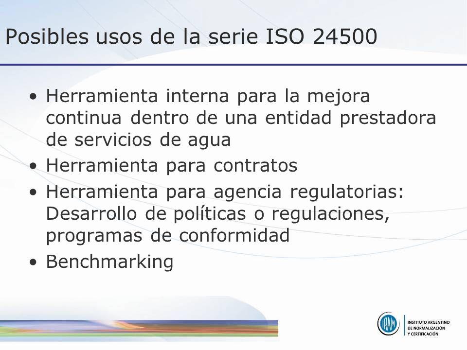 Posibles usos de la serie ISO 24500 Herramienta interna para la mejora continua dentro de una entidad prestadora de servicios de agua Herramienta para contratos Herramienta para agencia regulatorias: Desarrollo de políticas o regulaciones, programas de conformidad Benchmarking