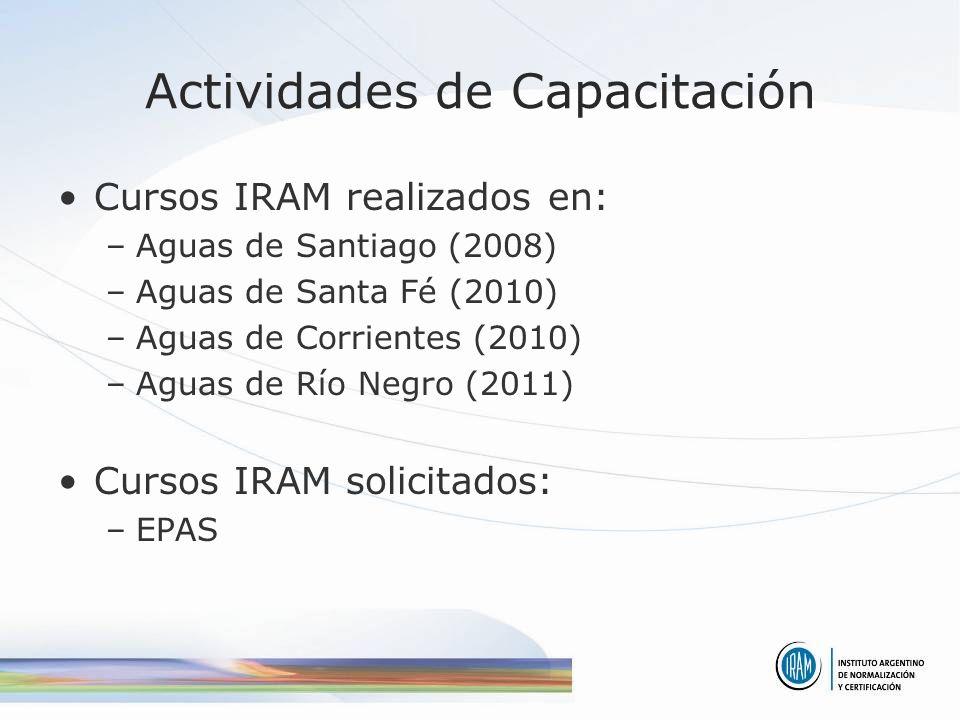 Actividades de Capacitación Cursos IRAM realizados en: –Aguas de Santiago (2008) –Aguas de Santa Fé (2010) –Aguas de Corrientes (2010) –Aguas de Río Negro (2011) Cursos IRAM solicitados: –EPAS