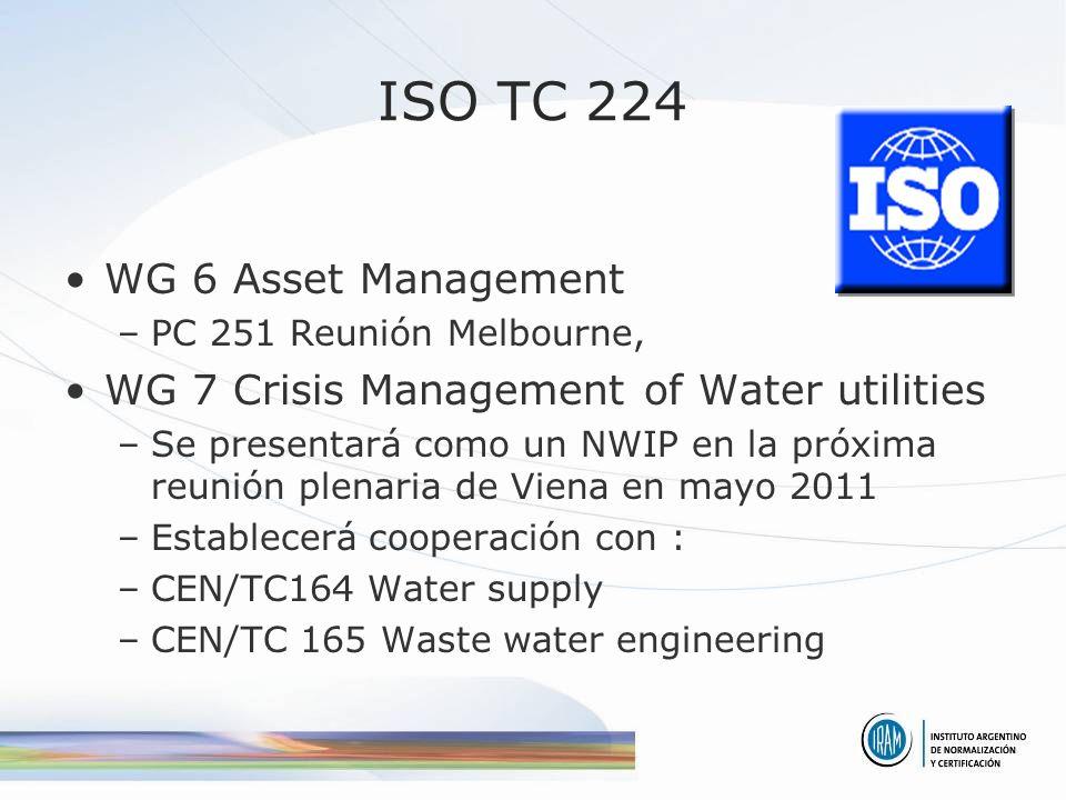 ISO TC 224 WG 6 Asset Management –PC 251 Reunión Melbourne, WG 7 Crisis Management of Water utilities –Se presentará como un NWIP en la próxima reunión plenaria de Viena en mayo 2011 –Establecerá cooperación con : –CEN/TC164 Water supply –CEN/TC 165 Waste water engineering