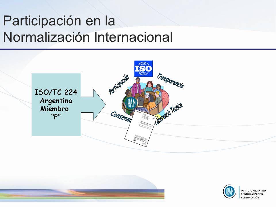 Participación en la Normalización Internacional ISO/TC 224 Argentina Miembro P