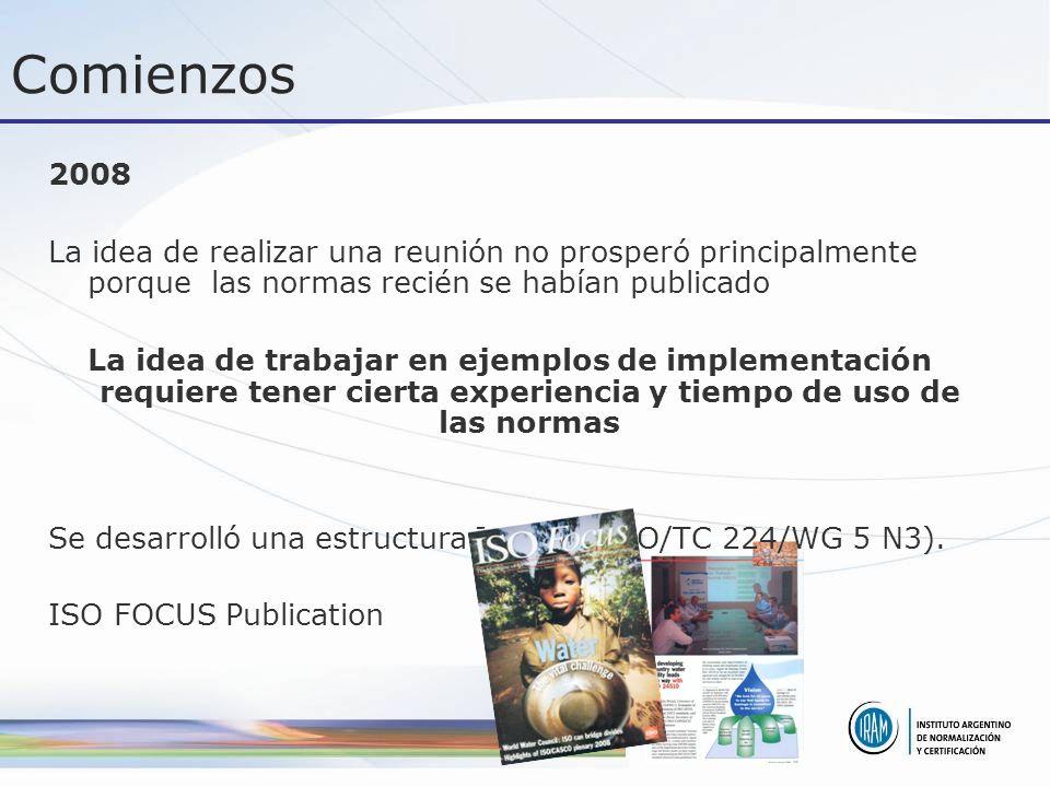 Comienzos 2008 La idea de realizar una reunión no prosperó principalmente porque las normas recién se habían publicado La idea de trabajar en ejemplos