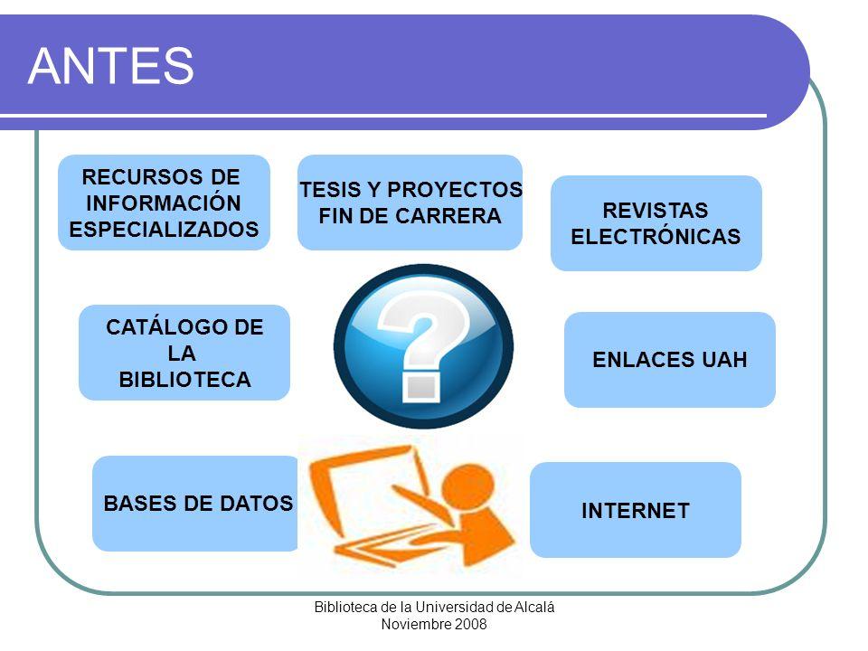 Biblioteca de la Universidad de Alcalá Noviembre 2008 AHORA GUÍA TEMÁTICA BIBLIOTECARIOS ENCARGADOS NUEVAS ADQUISICIONES CATÁLOGO DE LA BIBLIOTECA TESIS Y PROYECTOS FIN DE CARRERA BASES DE DATOS INTERNET REVISTAS Y LIBROS ELECTRÓNICOS