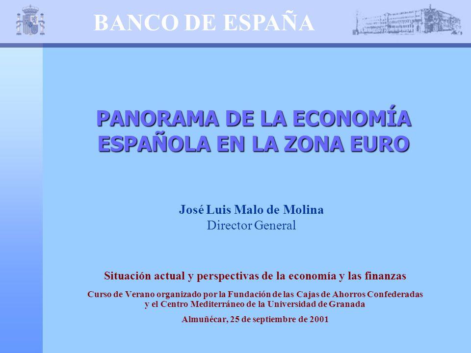 BANCO DE ESPAÑA PANORAMA DE LA ECONOMÍA ESPAÑOLA EN LA ZONA EURO José Luis Malo de Molina Director General Situación actual y perspectivas de la econo