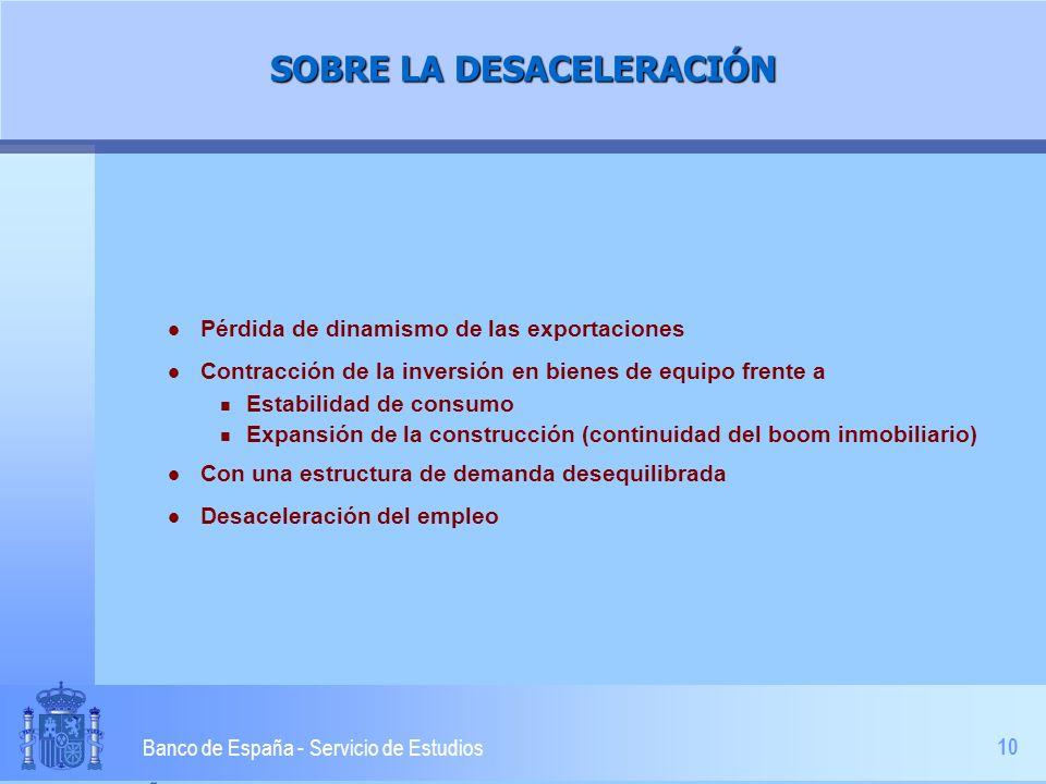 10 Banco de España - Servicio de Estudios SOBRE LA DESACELERACIÓN l Pérdida de dinamismo de las exportaciones l Contracción de la inversión en bienes