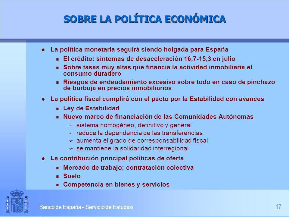 17 Banco de España - Servicio de Estudios SOBRE LA POLÍTICA ECONÓMICA l La política monetaria seguirá siendo holgada para España n El crédito: síntoma