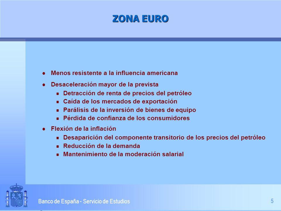 5 Banco de España - Servicio de Estudios ZONA EURO l Menos resistente a la influencia americana l Desaceleración mayor de la prevista n Detracción de