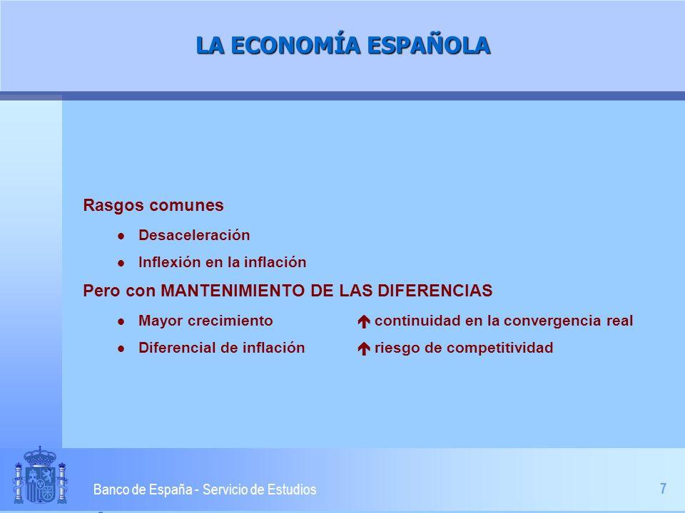 7 Banco de España - Servicio de Estudios LA ECONOMÍA ESPAÑOLA Rasgos comunes l Desaceleración l Inflexión en la inflación Pero con MANTENIMIENTO DE LAS DIFERENCIAS l Mayor crecimiento continuidad en la convergencia real l Diferencial de inflación riesgo de competitividad