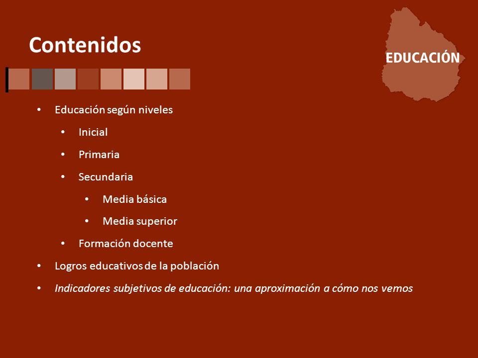 Contenidos Educación según niveles Inicial Primaria Secundaria Media básica Media superior Formación docente Logros educativos de la población Indicadores subjetivos de educación: una aproximación a cómo nos vemos