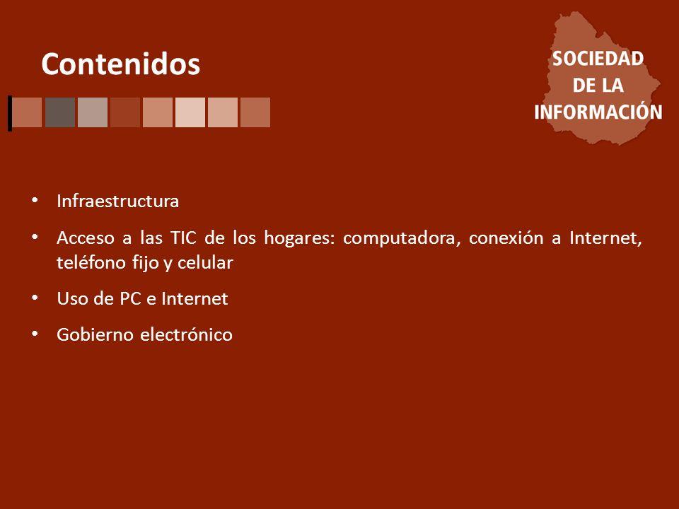 Contenidos Infraestructura Acceso a las TIC de los hogares: computadora, conexión a Internet, teléfono fijo y celular Uso de PC e Internet Gobierno el