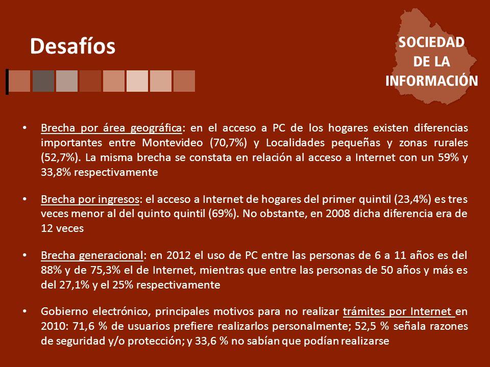 Desafíos Brecha por área geográfica: en el acceso a PC de los hogares existen diferencias importantes entre Montevideo (70,7%) y Localidades pequeñas y zonas rurales (52,7%).