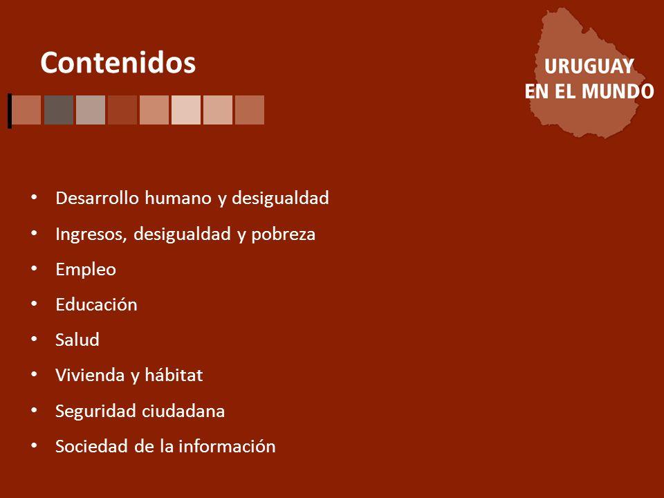 Contenidos Desarrollo humano y desigualdad Ingresos, desigualdad y pobreza Empleo Educación Salud Vivienda y hábitat Seguridad ciudadana Sociedad de la información