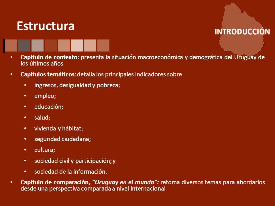 Estructura Capítulo de contexto: presenta la situación macroeconómica y demográfica del Uruguay de los últimos años Capítulos temáticos: detalla los principales indicadores sobre ingresos, desigualdad y pobreza; empleo; educación; salud; vivienda y hábitat; seguridad ciudadana; cultura; sociedad civil y participación; y sociedad de la información.