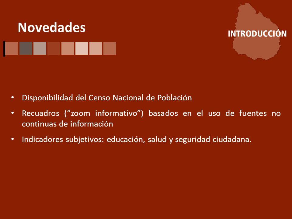 Novedades Disponibilidad del Censo Nacional de Población Recuadros (zoom informativo) basados en el uso de fuentes no continuas de información Indicadores subjetivos: educación, salud y seguridad ciudadana.