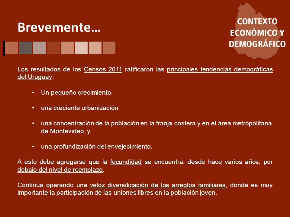 Brevemente… Los resultados de los Censos 2011 ratificaron las principales tendencias demográficas del Uruguay: Un pequeño crecimiento, una creciente urbanización una concentración de la población en la franja costera y en el área metropolitana de Montevideo, y una profundización del envejecimiento.