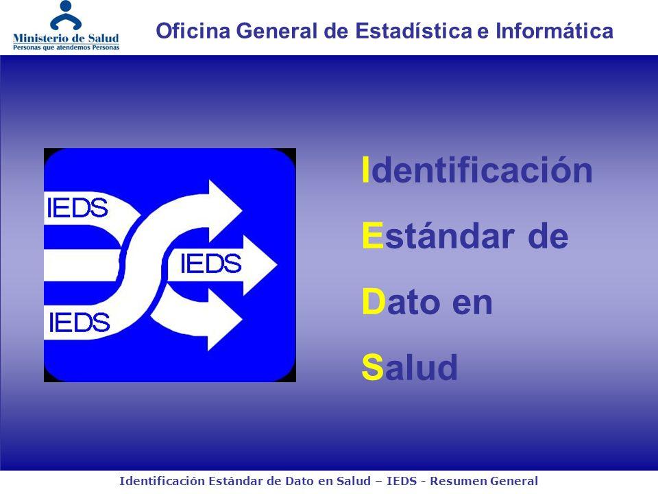 Identificación Estándar de Dato en Salud – IEDS - Resumen General Oficina General de Estadística e Informática Identificación Estándar de Dato en Salud